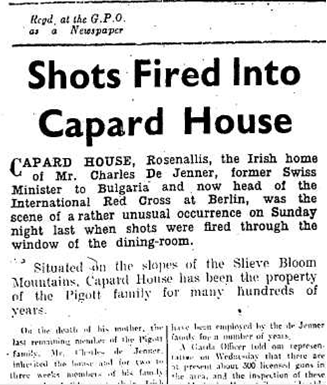 Leinster Express article on shooting at Capard House, 25 August 1951